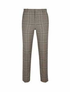 Mens Neutral House Check Skinny Fit Suit Trousers, Cream