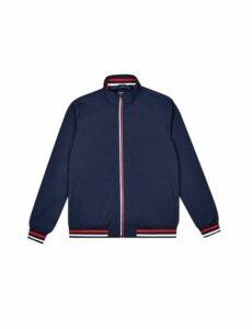 Mens Navy Two Tone Zip Neck Harrington Jacket, Blue