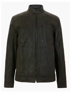 M&S Collection Double Collar Leather Biker Jacket