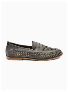 Mens Grey Nubuck Farrier Weave Loafers, Grey