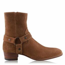 Saint Laurent Wyatt Harness Boots In Suede
