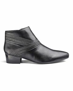 Leather Cuban Heel Boots Wide Fit