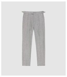 Reiss Dagger - Wool Linen Blend Slim Fit Trousers in Grey, Mens, Size 38