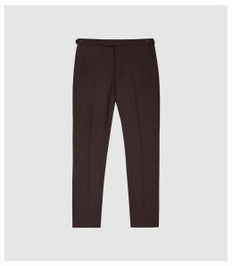 Reiss Malbec - Wool Blend Slim Fit Trousers in Plum, Mens, Size 38