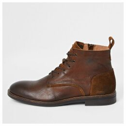 Mens River Island Brown leather lace-up chukka boots