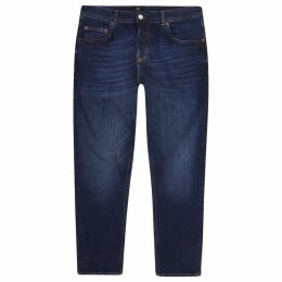 Mens River Island Dark Blue Jimmy tapered cropped jeans