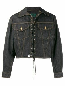 Jean Paul Gaultier Pre-Owned 1988 lace-up cropped denim jacket - Black