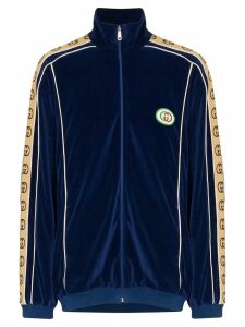 Gucci oversized chenille track jacket - Blue