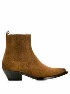 Saint Laurent pointed cowboy boots - Brown
