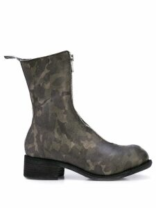 Guidi camouflage pattern zip boots - Green