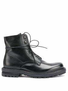 Officine Creative lace up military boots - Black