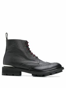 Alexander McQueen logo plaque lace-up boots - Black