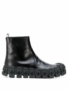 Prada deconstructed chunky leather boots - Black
