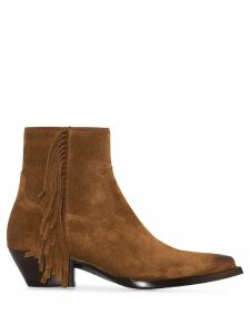 Saint Laurent Lukas fringed ankle boots - Brown