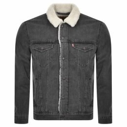 Levis Denim Sherpa Trucker Jacket Grey