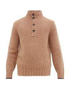 Brunello Cucinelli - Button Front Alpaca Blend Sweater - Mens - Camel