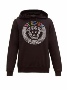 Versace - Medusa Head And Rainbow Logo Embroidered Hoodie - Mens - Black