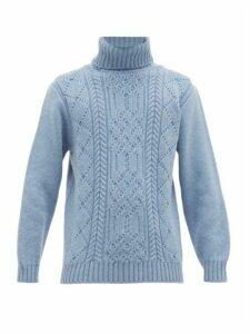 Inis Meáin - Aran Patterned Merino Wool Roll Neck Sweater - Mens - Light Blue