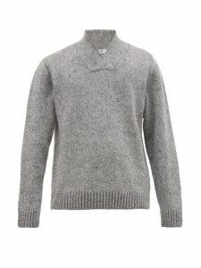 Inis Meáin - V Neck Wool Blend Sweater - Mens - Grey