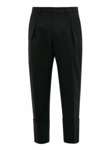 Wooyoungmi - Exaggerated Cropped Cuff Wool Twill Trousers - Mens - Black