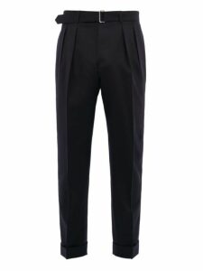 Officine Générale - Pierre Double Pleated Wool Twill Trousers - Mens - Navy