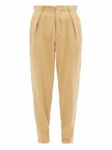 Marrakshi Life - High Waisted Pleated Cotton Blend Trousers - Mens - Camel