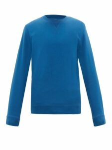 Sunspel - Crew Neck Cotton Loop Back Jersey Sweatshirt - Mens - Blue