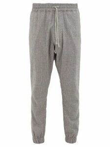 Marrakshi Life - Drawstring Cotton Blend Trousers - Mens - Black Grey