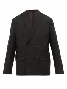 Lemaire - Double Breasted Shawl Lapel Wool Jacket - Mens - Black