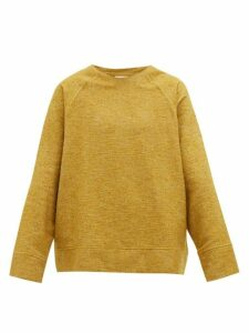Marrakshi Life - Boat Neck Cotton Blend Bouclé Sweater - Mens - Yellow