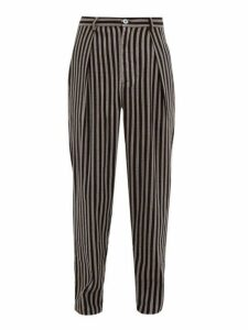 Marrakshi Life - High Rise Striped Cotton Blend Trousers - Mens - Black Multi