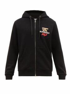 Burberry - Logo And Monogram Print Cotton Hooded Sweatshirt - Mens - Black