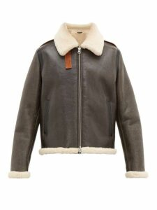Acne Studios - Messhe Leather And Shearling Jacket - Mens - Dark Brown