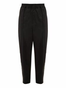Y-3 - Wide Leg Wool Satin Track Trousers - Mens - Black White