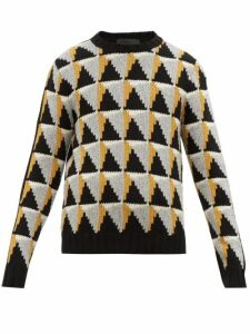 Prada - Geometric Intarsia Wool Blend Sweater - Mens - Black