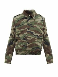 Saint Laurent - Camouflage Print Denim And Shearling Jacket - Mens - Green Multi