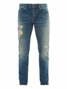 Saint Laurent - Low Waist Distressed Skinny Jeans - Mens - Light Blue