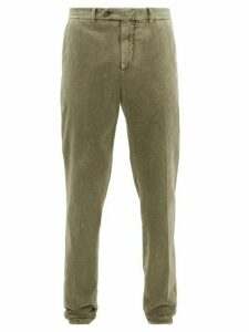 Brunello Cucinelli - Slim Leg Cotton Corduroy Trousers - Mens - Green