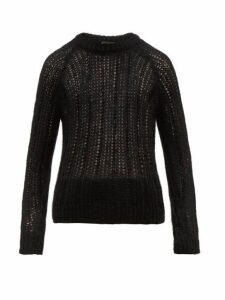 Prada - Garter Lace Knitted Mohair Blend Sweater - Mens - Black