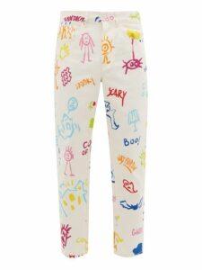Marcelo Burlon - High Rise Doodle Print Jeans - Mens - Multi