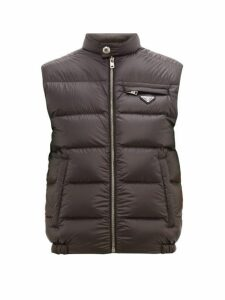 Prada - Logo Plaque Quilted Goose And Feather Filled Gilet - Mens - Black Green