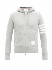 Thom Browne - Zip Through Cotton Hooded Sweatshirt - Mens - Light Grey