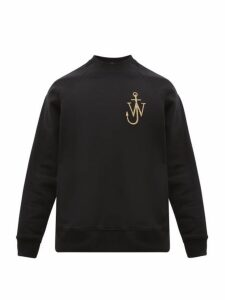 Jw Anderson - Logo Embroidered Buttoned Cuff Cotton Sweatshirt - Mens - Black