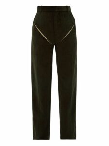 Y/project - Cut Out Cotton Corduroy Trousers - Mens - Dark Green