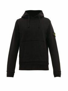 Stone Island - Logo Patch Cotton Hooded Sweatshirt - Mens - Black