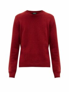 A.p.c. - Ribbed Trim Wool Sweater - Mens - Red