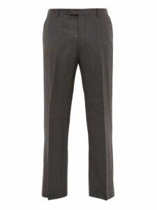 Prada - Checked Wool Blend Straight Leg Trousers - Mens - Grey