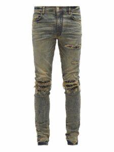 Amiri - Mx1 Bandana Patch Slim Leg Jeans - Mens - Blue