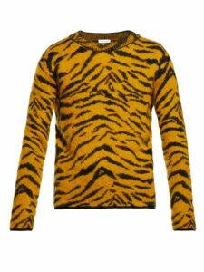 Saint Laurent - Tiger Jacquard Wool Blend Sweater - Mens - Black Yellow
