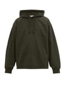Acne Studios - Fagen Logo Print Cotton Hooded Sweatshirt - Mens - Dark Green